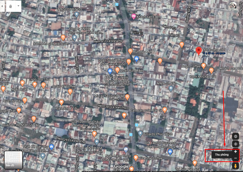 Map của Google còn có cơ chế phóng to cực kỳ thông minh