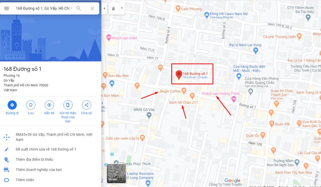 Google map còn cho thấy những địa điểm xung quanh điểm tìm kiếm của bạn.